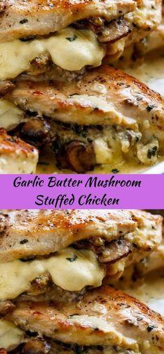 Garlic Butter Mushroom Stuffed Chicken Healthy Recipes is part of Chicken recipes - Garlic Butter Mushrooms, Low Carb Recipes, Cooking Recipes, Low Carb Brasil, Good Food, Yummy Food, Tasty, Healthy Mushroom Recipes, Healthy Recipes With Chicken