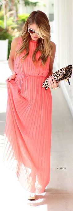 Felicity & Coco Coral Elegant Accordion Pleat Chiffon Maxi Dress