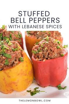 These stuffed bell peppers with Lebanese spices are filled with beef and rice then cooked in a garlic and mint infused tomato broth. Kitchen Recipes, Cooking Recipes, Healthy Recipes, Kitchen Hacks, Gluten Free Recipes For Dinner, Dinner Recipes, Lebanese Garlic Sauce, Food Dishes, Side Dishes