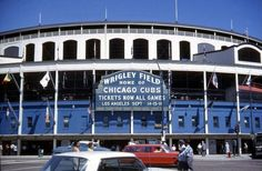 Outside Wrigley Field in 1964 when the Marquee was blue.