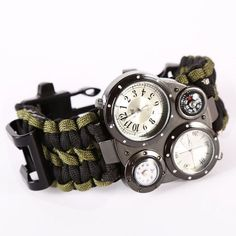 oulm men s survival watch compass and thermometer analog edcgear paracord survival watch