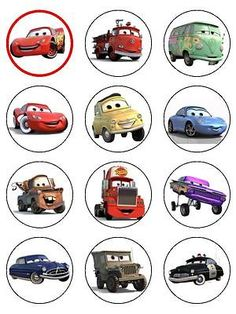 24 Cars Lightning McQueen ICING Edible Cupcake Toppers Party Decoration