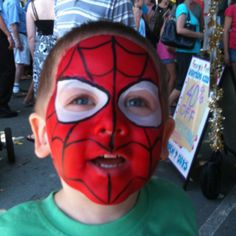 My son again, face painting by artist at Caloundra Sunday Markets