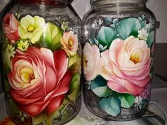 Decoupage Printables, Wine Glass Crafts, Old Vases, Diy Bottle, Russian Art, Bottles And Jars, Tole Painting, Painting Inspiration, Folk Art