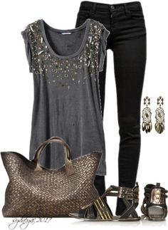 Womens Fashion Metal Tones. I love this idea BUT with a killer pair of heels.