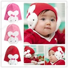 2013 Baby Toddler Twins Rabbit Girl Boys Knit Sweater Winter Crochet Hat