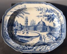 BLUE WHITE Pearlware TRANSFER Printed Exotic Scenery PLATTER 18.5in Rogers Spode #TRANSFERWARE #Unknown