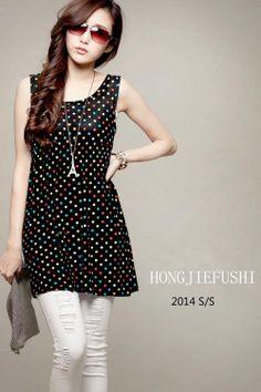 Dotted tank dress - 40321  USD $8.00
