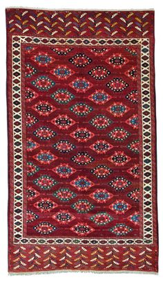 "Yomud ""C"" gol main carpet Approximately 9ft. 9in. x 3ft. 10in. (296x117cm) Turkmenistan circa 1850."