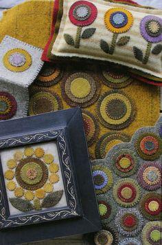 Love the framed Penny Rug Primitive Folk Art Inspirational Postcard: PENNY Penny Rug Patterns, Wool Applique Patterns, Felt Applique, Applique Quilts, Primitive Folk Art, Primitive Crafts, Felted Wool Crafts, Felt Crafts, Wooly Bully