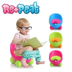 Baby Potty Training Toilet - Plastic, Non-Slip, Blue, Green, and Pink – Re+Peat