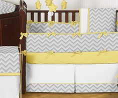 Grey And Yellow Chevron Nursery | ... Designs Zig Zag yellow and Gray Chevron 9-Piece Baby Crib Bedding Set
