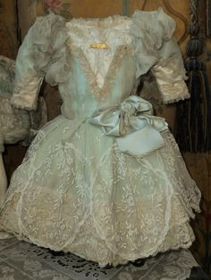 ~~~ Sea-Green French Silk Gown with Gorgeous Bonnet ~~~ from whendreamscometrue on Ruby Lane