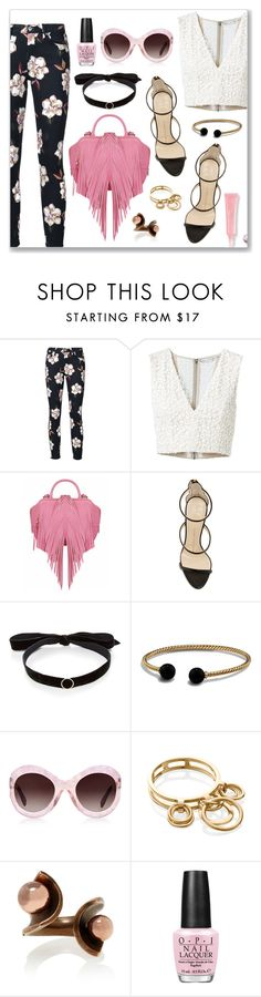 """""""Outfit of the Day"""" by dressedbyrose ❤ liked on Polyvore featuring 7 For All Mankind, Alice + Olivia, The Volon, Giuseppe Zanotti, Mateo, David Yurman, Zanzan, Natasha Schweitzer, Tomas Maier and OPI"""