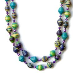 Handmade Womens Necklace~ Extra Long Wrap Necklace~ Eco Chic Paper Beads~ African Beads~ Multicolored Hippie Jewelry~ Folk Style Necklace~ Proceeds