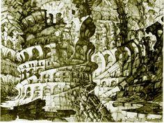 Erik Desmazières. La Tour de Babel. 1976. Engraving. (2) Tumblr