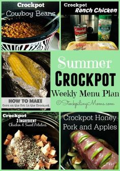 Summer Crockpot Weekly Menu Plan to help you enjoy your summer more with your family and friends!