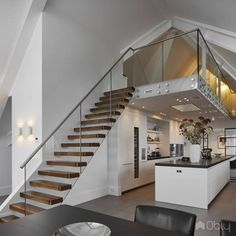 Hanging stairs or Cantilevered stairs create an impressive look in every space, thanks to their floating steps. Interior Concept, Home Interior Design, Interior Architecture, Open Trap, Floating In Space, Floating Staircase, House Rooms, Building Design, Decoration