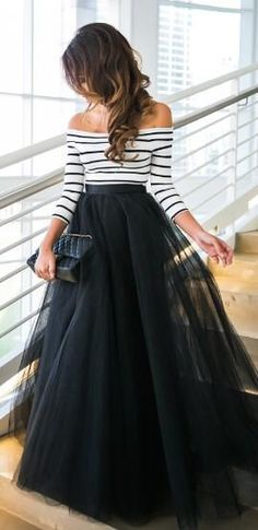 Off The Shoulder Stripe Top And Black Skirt