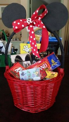35 non candy easter basket ideas for kids basket ideas easter use black and red spray paint black craft foam and red polka dot ribbon to make a minnie or mickey easter basket cute idea to tell family about their negle Choice Image