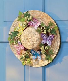 Vintage-Butterfly-Straw-Hat-Wreath-Spring-Flowers-Wicker-Country-Door-Decor