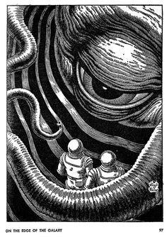 Virgil Finlay  1914 – 1971: American pulp fantasy, science fiction & horror illustrator. Worked in a range of media, from gouache to oils, and became famous for detailed pen&ink drawings accomplished w/ abundant stippling, cross-hatching, & scratchboard techniques. Finlay created more than 2600 works of graphic art in his 35-year career. http://aaronwolf.blogspot.com/2012/01/art-of-virgil-finlay.html