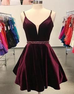 Simple velvet short prom dress, homecoming dress,BD3108