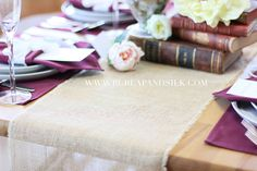 Buy 12 x 76 inches burlap table runners for rustic weddings and events at discount rates. Call for wholesale burlap table runners. Burlap Tablecloth, Burlap Fabric, Sophisticated Wedding, Elegant Wedding, Table Runner Size, Table Overlays, Burlap Table Runners, Wedding Reception Tables, Wedding Linens