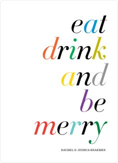 Eat, Drink and Be Merry Holiday Party Invitations by Paper Culture