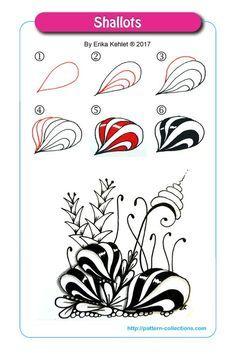 Shallots Tangle, Zentangle Pattern by Erika Kehlet Zentangle Drawings, Doodles Zentangles, Zentangle Patterns, Doodle Drawings, Zen Doodle Patterns, Doodle Borders, Doodle Art Designs, Tangle Doodle, Tangle Art