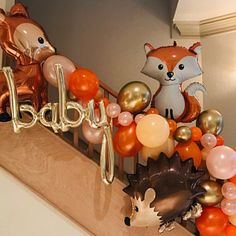 Baby Shower Fall, Baby Shower Favors, Baby Boy Shower, Baby Shower Gifts, Shower Party, Marble Balloons, Orange Balloons, Love Balloon, Balloon Garland