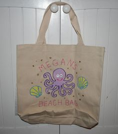 Personalized hand painted tote bag