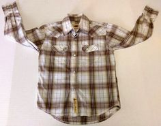 Larry Mahan Boys Brown Plaid Cowboy Western Snap Button Long Shirt Rodeo Small #LarryMahan #Everyday
