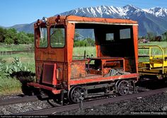 A Rio Grande Fairmont Speeder takes the evening off, parked with a work train at Springville, Utah.