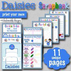 Daisies Scrapbook Pages - 11 Unique Pages - Print Your Own