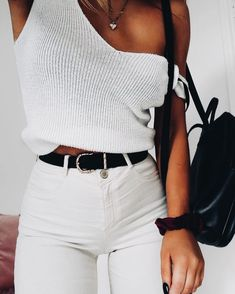 tank top sweater with white jeans