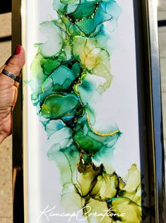 """Cadre, dessin abstrait à l'encre """"Greenlife"""" vert et holographique Decoration, Projects To Try, Arts And Crafts, France, Ink, Paper, Holographic, Art Crafts, Acrylic Paintings"""