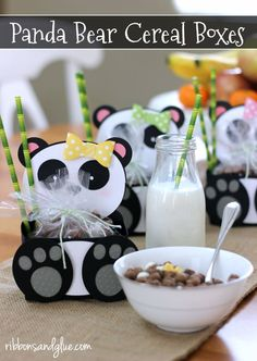Panda Bear Treat Boxes made with Silhouette cut file and filled up with Post Kung Fu Panda Cereal #CerealAnytime #ad @walmart