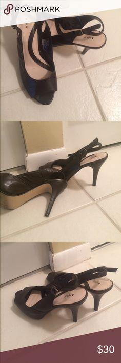 Brown leathers sandals heels Worn once. Apt.9 Shoes Heels