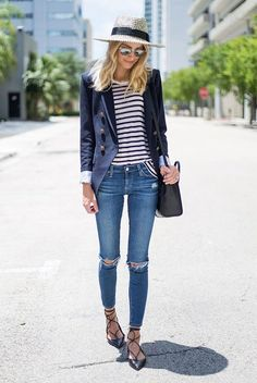 spring outfit, summer outfit, comfy outfit, casual outfit, street style, street chic style, summer vacation outfit - straw hat, stripe t-shirt, navy blazer, skinny jeans, black lace up flats, black shoulder bag, white mirror sunglasses