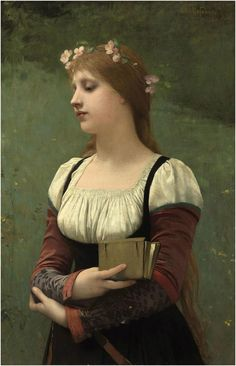A Pensive Moment, 1886, by Jules Joseph Lefebvre (French, 1836-1911).