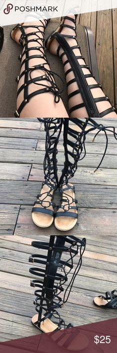 Black gladiator sandals Tall black sandals zip up the side and lace up the front worn once but they were too small Shoes Sandals