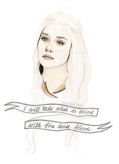 Daenerys Targaryen watercolour portrait from Oh gosh, Cindy!