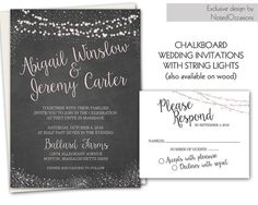 Rustic wedding invitations with a super fun typography and handwritten fonts. Rustic chalkboard wedding invitations and rsvp card designed with the spring, summer, fall or winter wedding in mind. The wedding invitation is 5x7 and has a choice of chalkboard, barn wood or gray wood background with flicker lights in the background and contemporary fonts and stylings. The Wedding rsvp response cards coordinate with the country rustic chic wedding invitations .