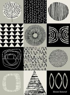 Blockwork Black open edition giclee print by Eloise Renouf Graphic Patterns, Textile Patterns, Print Patterns, Graphic Design, Pattern Art, Pattern Design, Pattern Ideas, Pattern Drawing, Stencil