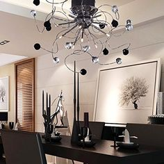 OOFAY LIGHT® 9 Light Flush Mount Crystal Ceiling Light in Polished Chrome, Crystal,Modern Home Ceiling Light Fixture Pendant Light Chandeliers Lighting black&white, http://www.amazon.com/dp/B00NCT275M/ref=cm_sw_r_pi_awdm_3mYYvb02GDCVJ
