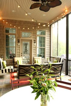 String lights on a screened porch