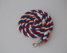 Browse unique items from KaisRuffWear on Etsy, a global marketplace of handmade, vintage and creative goods.  Patriotic Red White and Blue soft cotton rope leash.