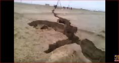 PAKISTAN - A gigantic earth fissure opened up in February 2017 following the recent downpours in Balochistan, Pakistan. The crack spans several hundred miles and sparks panic among the local residents.