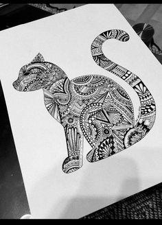 mandala cat drawing blackandwhite art